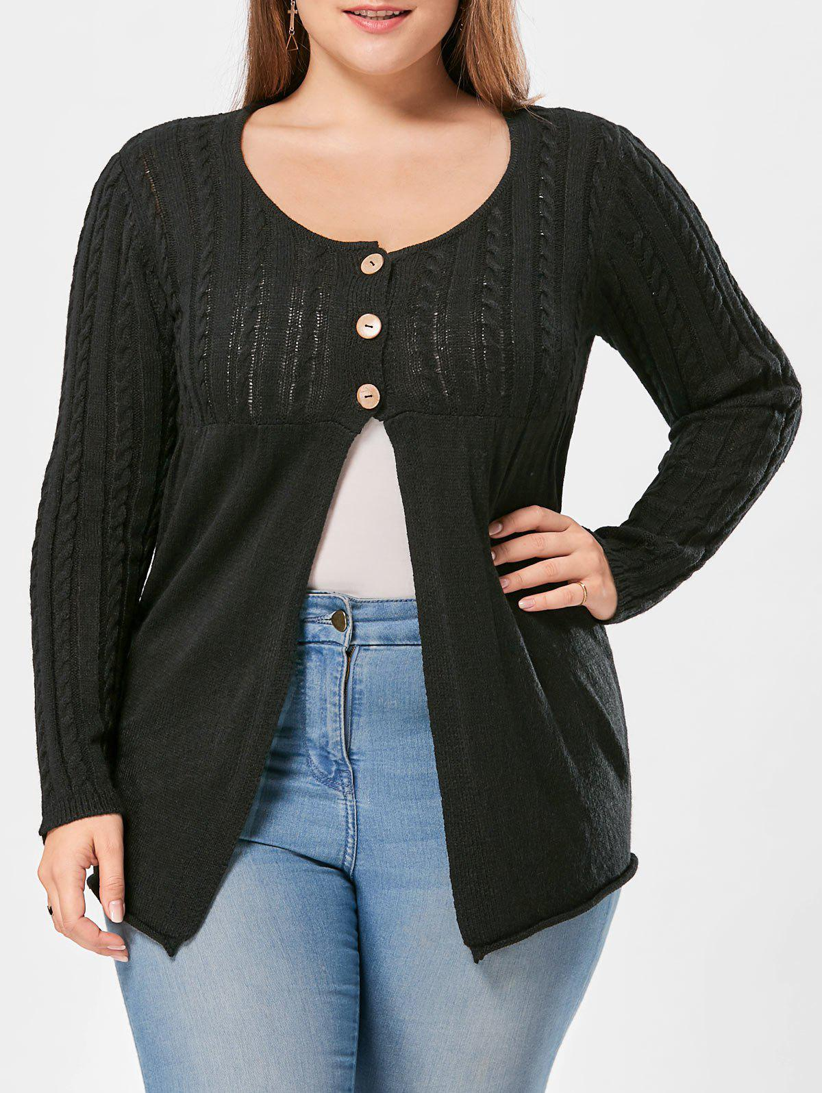 Plus Size Cable Knit Button Up Cardigan - BLACK 2XL