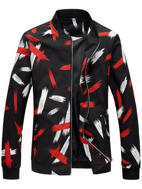 Two Tone Printed Stand Collar Jacket - COLORMIX 3XL