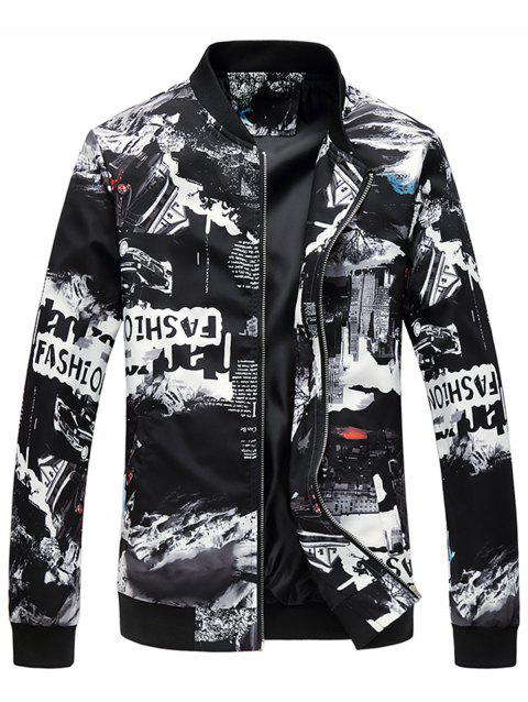 Car Graphic Print Stand Collar Jacket - COLORMIX L