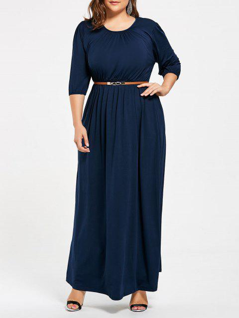 17% OFF] 2019 Ruched Plus Size Maxi Dress with Belt In CERULEAN 2XL ...