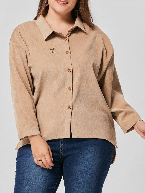 Plus Size High Low Drop Shoulder Jacket - KHAKI 2XL