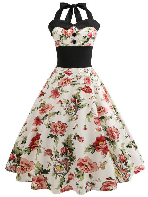Retro Halter Floral Print Pin Up Dress - BEIGE 2XL