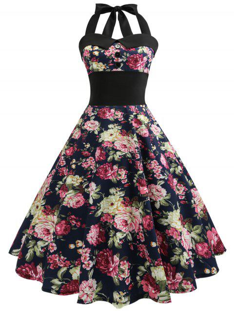 3d4c656696 41% OFF  2019 Vintage Halter Floral Print 50s Swing Dress In FLORAL ...