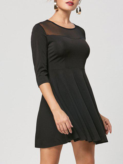 Mesh Panel A Line Mini Dress - BLACK XL