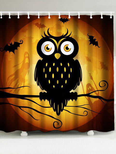 Halloween Owl Pattern Showerproof Bathroom Curtain - YELLOW/BLACK W79 INCH * L71 INCH