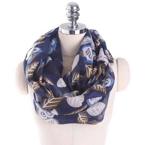 Cartoon Owl Pattern Infinity Scarf - CADETBLUE