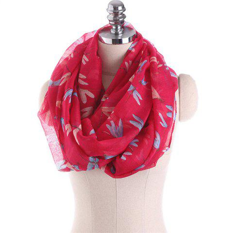Multicolor Dragonfly Pattern Infinity Scarf - RED