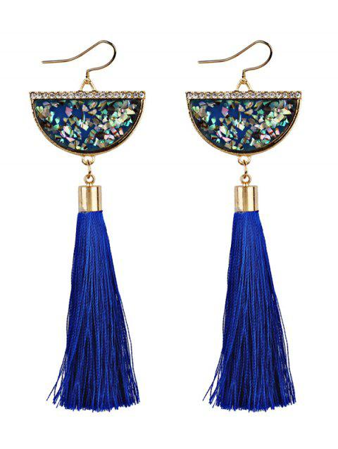 Half Round Tassel Pendant Fish Hook Earrings - BLUE