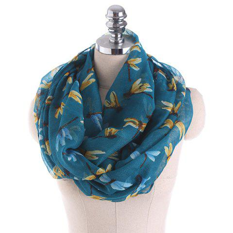 Multicolor Dragonfly Pattern Infinity Scarf - BLACKISH GREEN