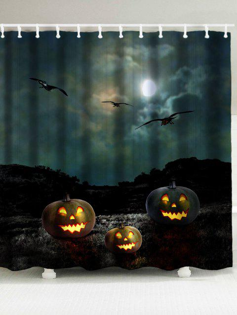 Halloween Night Bats Pattern Showerproof Bathroom Curtain - BLACK W71 INCH * L71 INCH