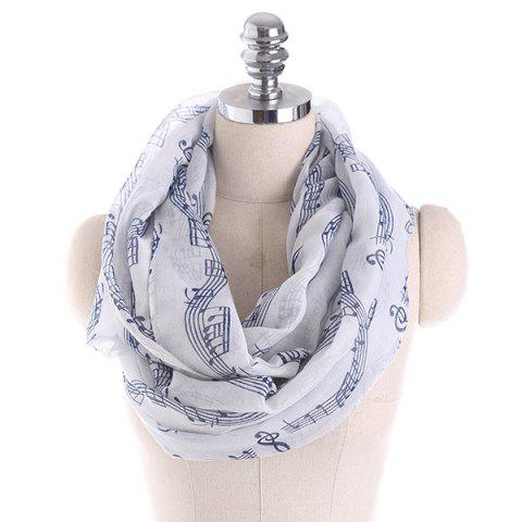 Music Note Stave Embellished Infinity Scarf - BLUE/WHITE