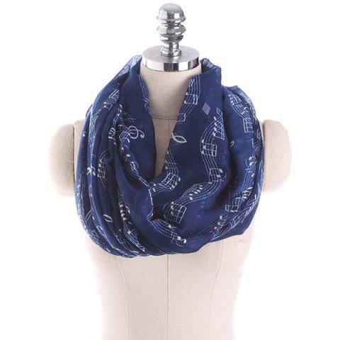 Music Note Stave Embellished Infinity Scarf - CADETBLUE