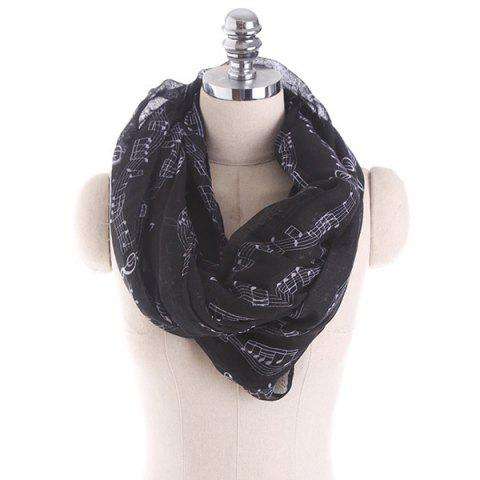 Music Note Stave Embellished Infinity Scarf - BLACK
