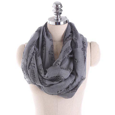 Music Note Stave Embellished Infinity Scarf - GRAY