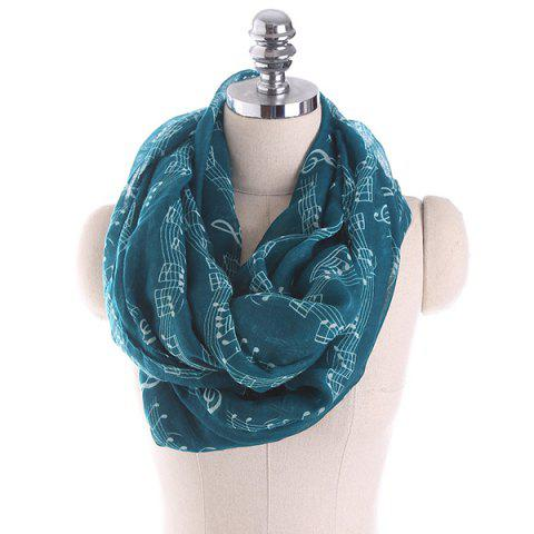 Music Note Stave Embellished Infinity Scarf - BLACKISH GREEN