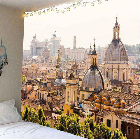 Waterproof European Architecture Pattern Wall Hanging Tapestry - BROWN W59 INCH * L59 INCH