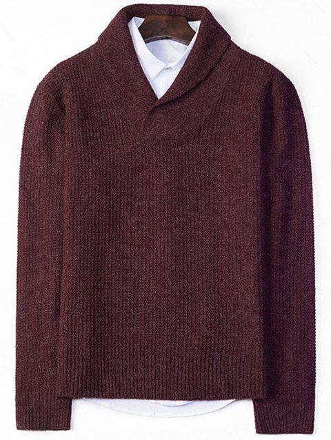 8c156ab8485f 41% OFF  2019 Pullover Shawl Collar Chunky Sweater In WINE RED L ...