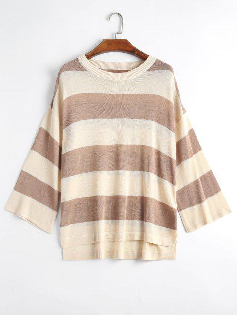 Plus Size Striped Knit Side Slit Sweater - KHAKI 2XL
