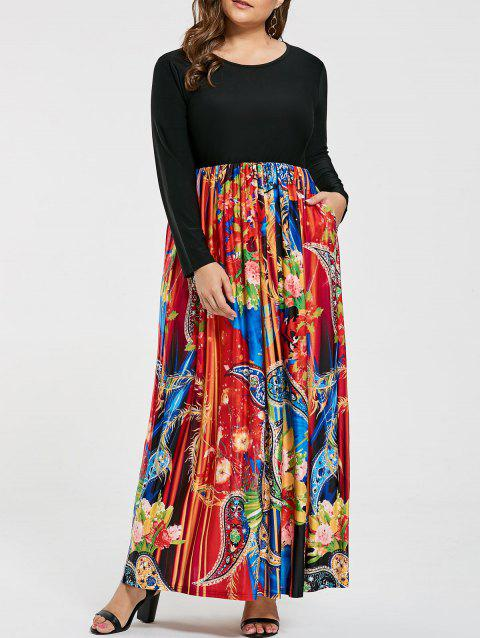 5ff1b3425fd LIMITED OFFER  2019 Floral Printed Plus Size Long Sleeve Maxi Dress ...