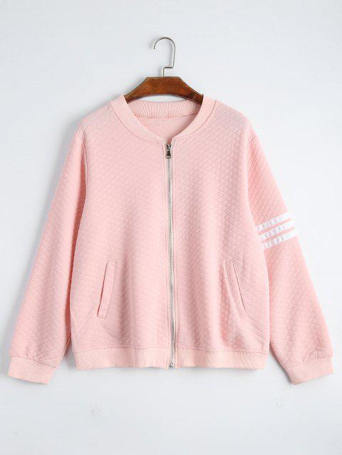 1dfb8f82a36 41% OFF  2019 Plus Size Striped Zip Up Jacket In LIGHT PINK XL ...