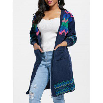 Ethnic Jacquard Pockets Cardigan