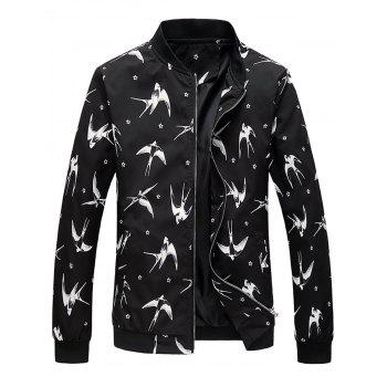 Floral Swallow Print Stand Collar Jacket