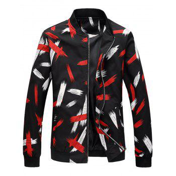 Two Tone Printed Stand Collar Jacket - COLORMIX COLORMIX