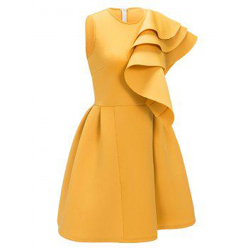 Sleeveless Ruffle Cocktail Dress - YELLOW M