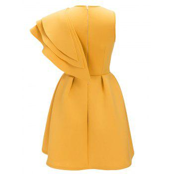 Robe de Cocktail Sans Manches à Volants - Jaune M