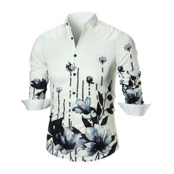 Water Lily Print Long Sleeve Shirt