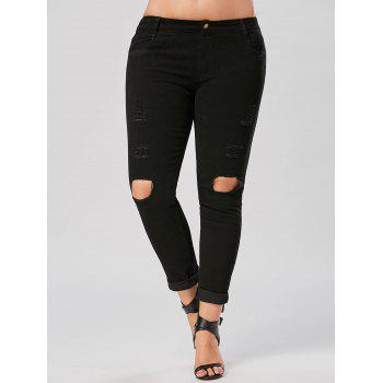 Plus Size Destroyed Slim Fit Jeans