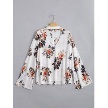 Floral Print Flare Sleeve Choker Blouse