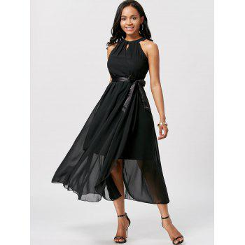 Women's Charming Irregular Sleeveless Solid Color Chiffon Dresses - BLACK ONE SIZE
