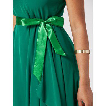 Women's Charming Irregular Sleeveless Solid Color Chiffon Dresses - GREEN ONE SIZE