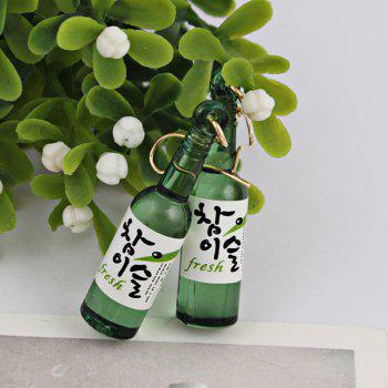 Wine Bottle Pendant Embellished Fish Hook Earrings - GREEN