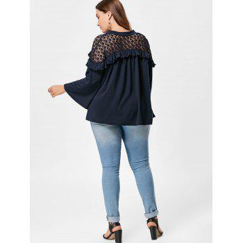 Notch Neck Plus Size Crochet Panel Blouse - PURPLISH BLUE 5XL