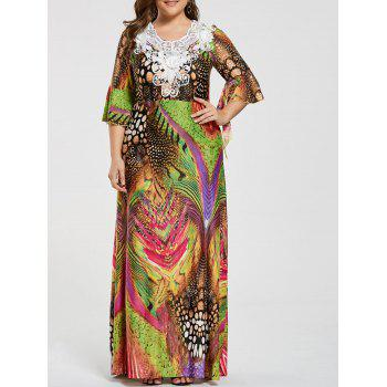 Plus Size Printed Lace Embellished Ruffled Maxi Dress