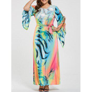 Plus Size Ombre Printed Slit Sleeve Maxi Dress
