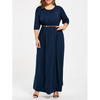 Ruched Plus Size Maxi Dress with Belt