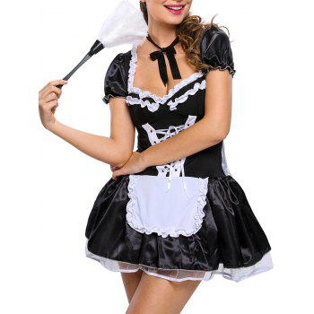 Ruffled Satin Housemaid Cosplay Costume - BLACK ONE SIZE