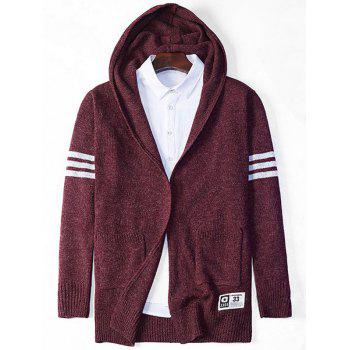 Stripe Star Pattern Hooded Open Front Cardigan