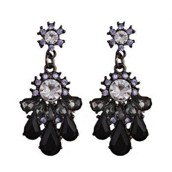 Rhinestone Teardrop Chandelier Statement Earrings