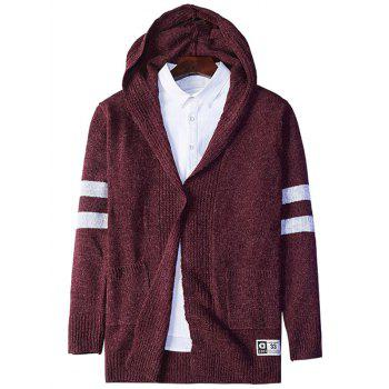 Open Front Stripe Cross Pattern Hooded Cardigan