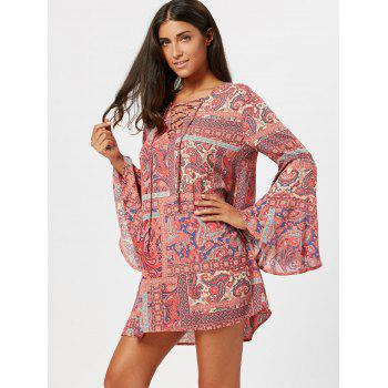 Long Flared Sleeve Paisley Print Tunic Dress