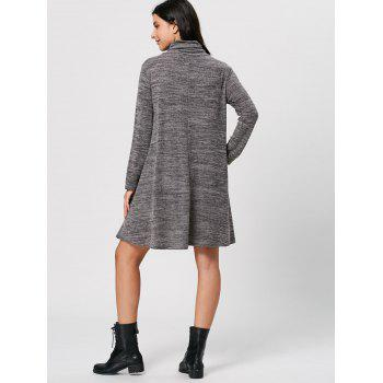 High Neck Long Sleeve Knit Tunic Dress - GRAY GRAY