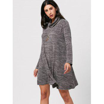 High Neck Long Sleeve Knit Tunic Dress - 2XL 2XL