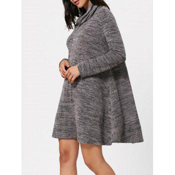 High Neck Long Sleeve Knit Tunic Dress