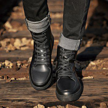 Round Toe High-top Sneakers - BLACK 44