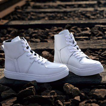Round Toe High-top Sneakers - WHITE 44