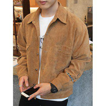 Button Up Chest Pocket Embroidery Jacket - KHAKI M